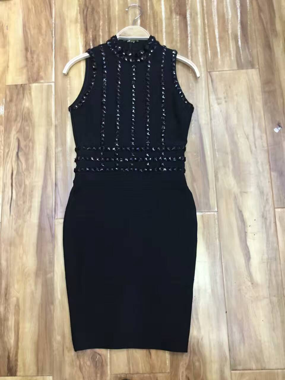wholesale 2017 new High quality evening dresses Black sleeveless heavy handmade rivet beading bandage dress