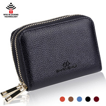 Black RFID Blocking Genuine Leather women credit card case wallet
