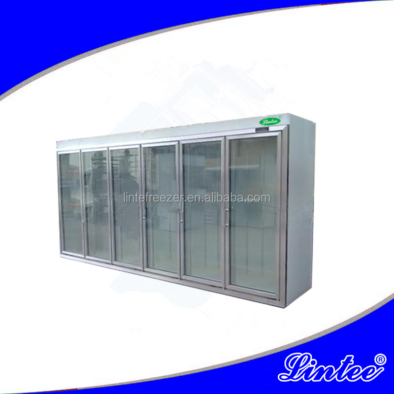 Lintee 2 Meter upright open type drink refrigerated showcase for supermarket