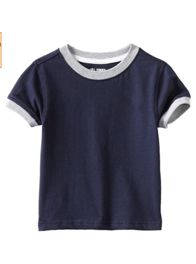 Little Boys T-Shirt Crew Neckline Short Sleeve Tee With Contrast Collar And Cuffs Baby T-shirt