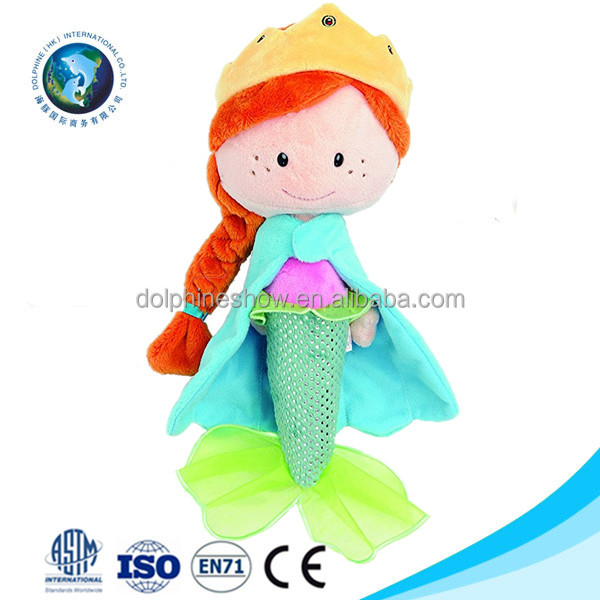 Beautiful princess stuffed plush girl mermaid doll toy LOW MOQ Custom cartoon handmade soft cloth rag doll