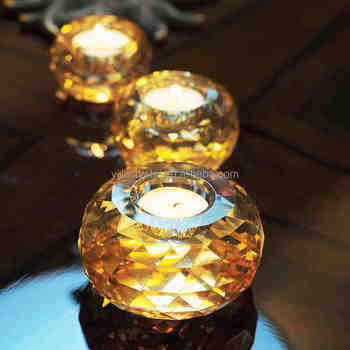 Little Round Table Centerpiece Crystal Tealight Candle Holders for Table Decorations