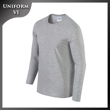 Cheap 100% cotton adult men blank long sleeve well-fitting round collar t-shirt screen printing