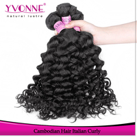100% human virgin hair grade 6a Cambodian Italian curly wholesale remy hair extensions