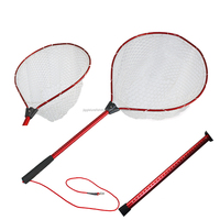 Kayak landing net with leash rubber net