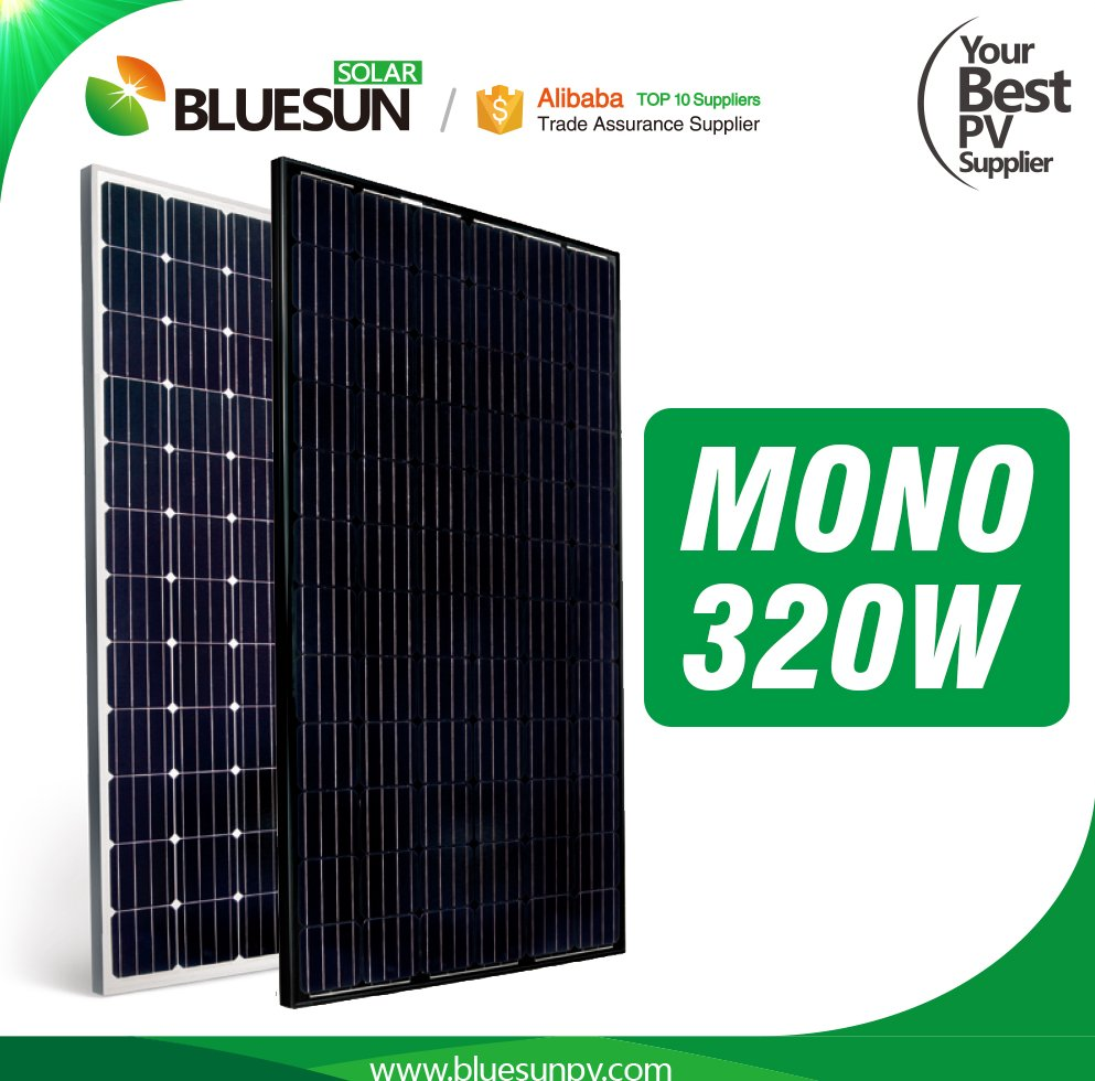 BlueSun High efficiency A Grade mono crystalline 72 cells 300w 310w 320w black solar panel