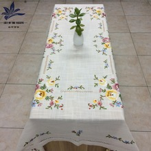 Rectangular polyester hand embroidery designs floral white embroidered tablecloth wedding home banquet party table cloth 54X72