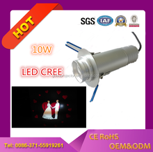 Ledy indoor 10w led hd projection light embedded type for company logo advertising