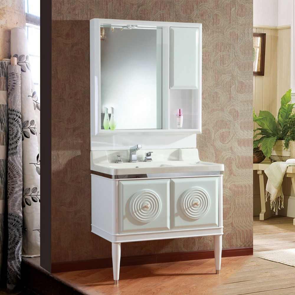 special design floor standing pvc bathroom cabinet with ceramic basin