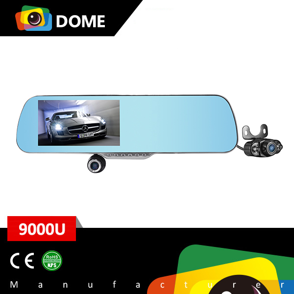 350 degree Rotation Front Lens 9000U Dual Channel camera Rearview Mirror support GPS Navigation