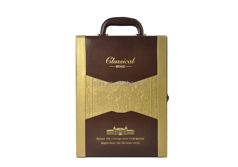 Hotel or wine shops used PU leather wine box for hamper