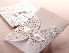 Hot <strong>wedding</strong> favors decorative party supply laser cut folding White Lace <strong>wedding</strong> invitation cards