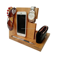 Wood Charging Bamboo Phone Docking Station with Key Holder Pen Holder Wallet and Watch Organizer