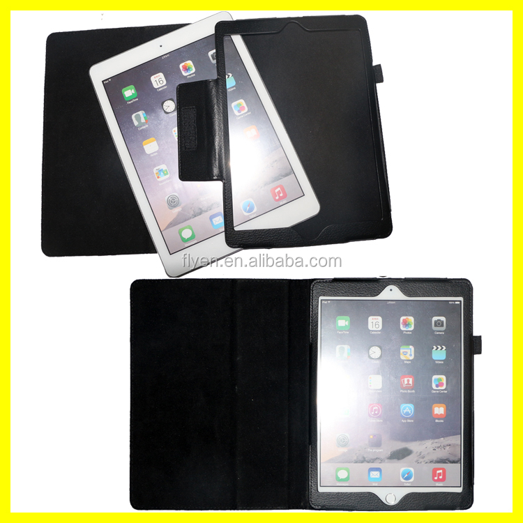 Magnetic Folio PU Leather Case for Apple iPad Air 2 10 inch Tablet Wholesale Cases Covers with Sleep and Wake Black