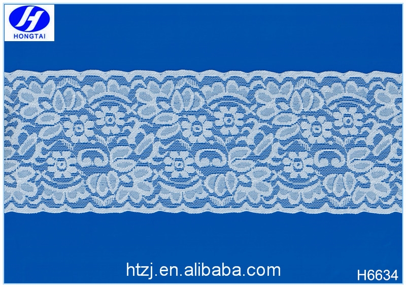 Hongtai new style 10 cm lace ribbon pattern/stretch spandex chemical indian nylon lace trims