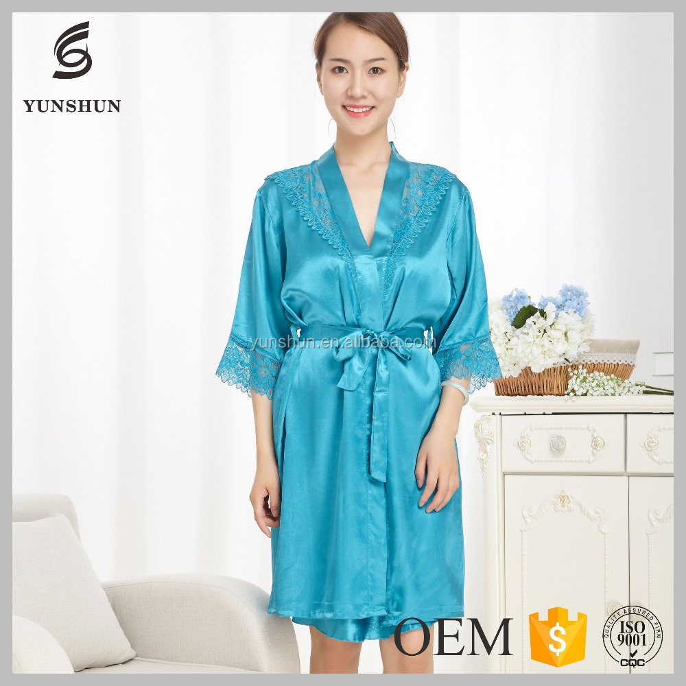 Light Weight Comfortable Girls sleepwear women bathrobe silk pajamas