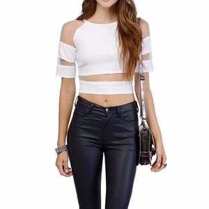 Fashion Mesh Patchwork Crop Top Sheer Off Shoulder Hollow Out Ladies Sexy Crop Top