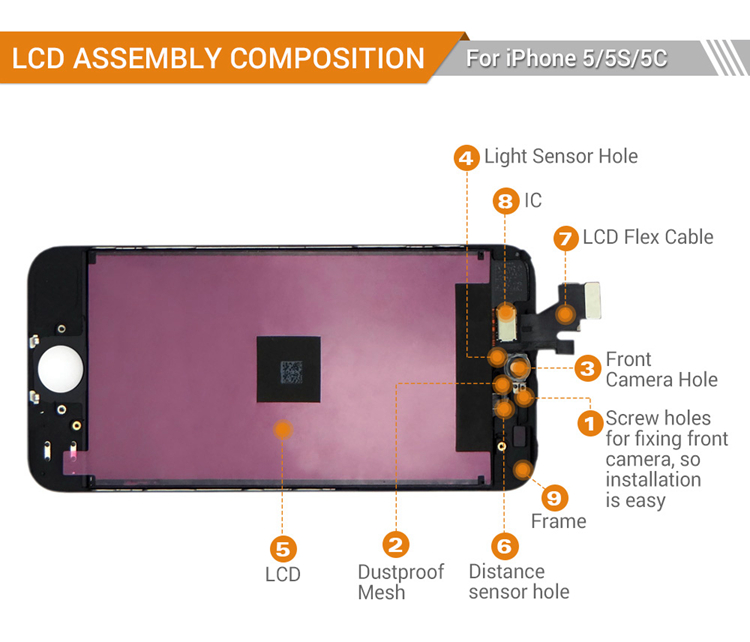 Assembly For iPhone 5 Touch Screen Digitizer LCD Replacement