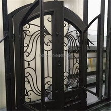 Arch Top Wrought Iron Main Door Design For Security Needs FD-517