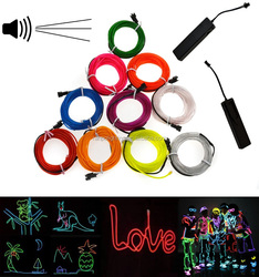 Safety Low Voltage 3V 5V RGB LED EL Wire Rope Lighting for Christmas Decoration Flexible Strips