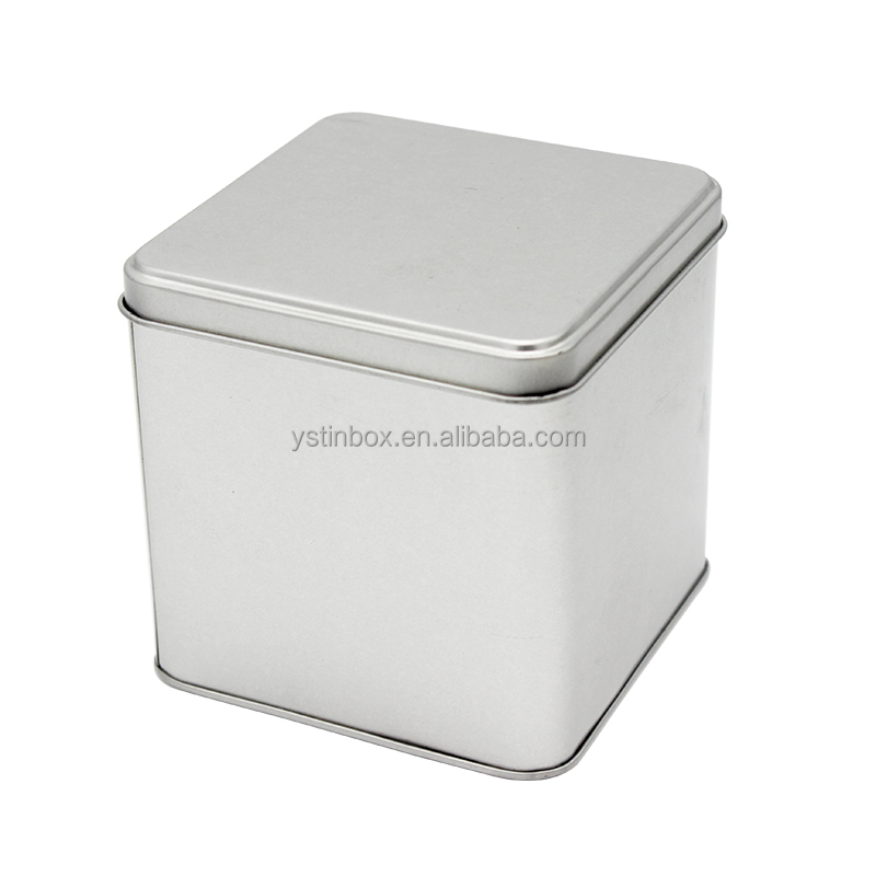 Plain Silver Empty Matt Varnish Square Metal Tin Box Wholesale for <strong>Packing</strong>