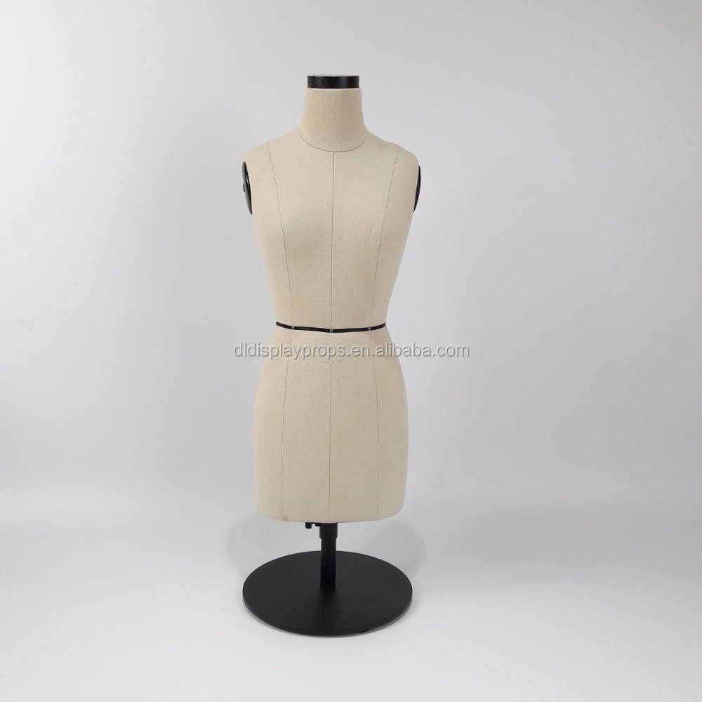 NEW mini female Fabric bust tailoring mannequin yellow fabric fitting model with metal base for Clothing Display