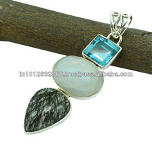 Blue Topaz, Black Rutile, Rainbow Moonstone Gem Stone 925 Sterling Original Silver Pendant