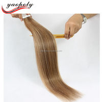 Hot Sale Wholesale Waterproof virgin brazilian hair tape hair extensions stitched european remy hair piano color