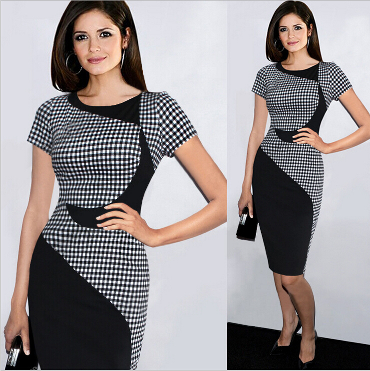 2017 New Fashion Vestido Patchwork Plaid Pencil Bodycon Ladies Office Wear Summer Work Casual <strong>Dresses</strong> Women Plus size