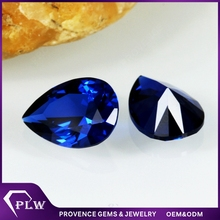 Ever shining heated blue sapphire pear cut blue 34# synthetic corundum price of carat