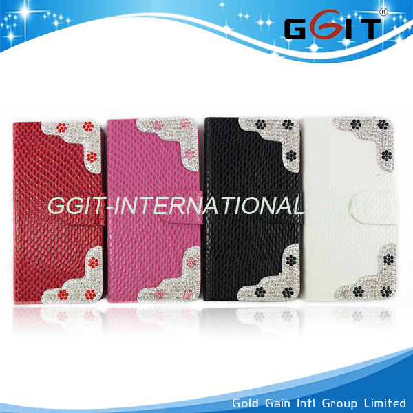 Wallet Case for iPhone 5C Exquisite Craft Fashion Case with diamond