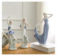 Beauty western girsl figurines,porcelain home hobby craft table made in China