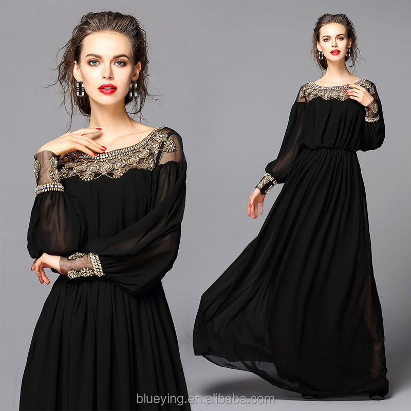High good qualiFloor length heavy beaded special occasion long sleeve prom party dress women formal chiffon evening dress BY5100