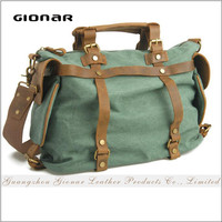 Unique Design Durable Canvas with Real Leather Fodable Travel Bag Gym Sport Bag