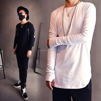 OEM longline mens t shirts fashion 2015 urban clothing kpop plain white extended long sleeve t shirt mens clothes tshirt hip hop