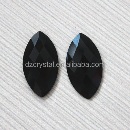 jet color horse eye shaped flat back crystal glass stones wholesale for clothing;jewelery making