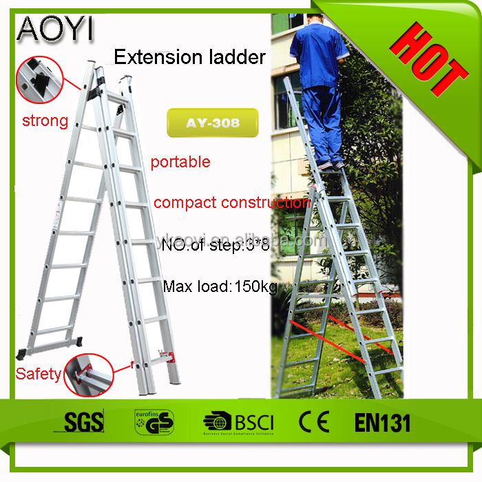 AY 2016 Hot Products Aluminium Ladder ,Aluminum three section extension ladder