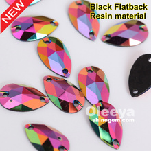 hot sale black flatback 10x18mm teardrop resin sew on shiny gems for garment accessory