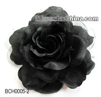 Black handmade fabrics flower rose hair clip