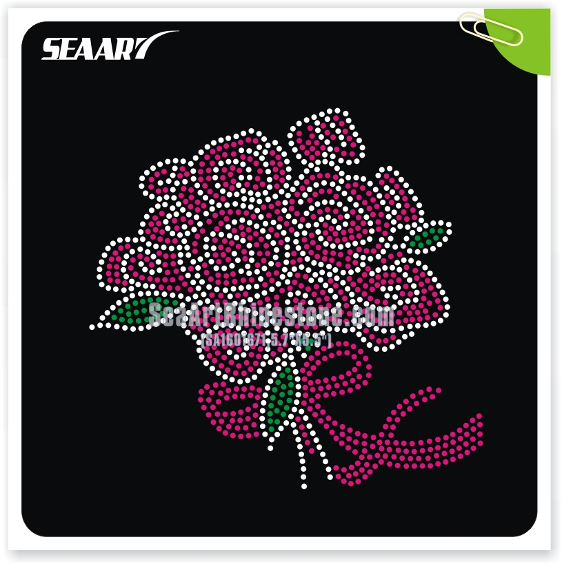 rhinestone Valentine's Day flower gift heat transfer design