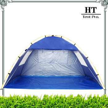 Inner Sliver Coated Sun & Wind Shelter Beach Sun Shade Tent with Three Mesh Windows