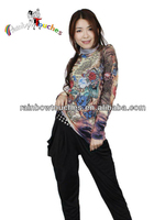 Fashion Polyester High Neck Design Of Blouse