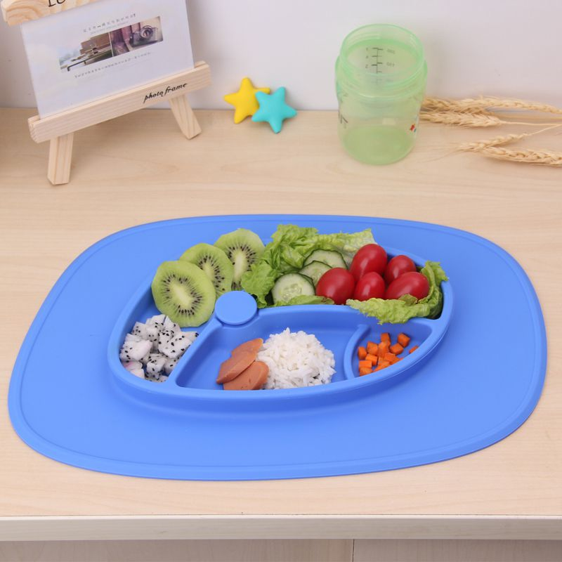 Food grade silicone baby plate,easy clean and strong suction baby placemat