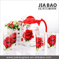 Deli water drinking set with rose flower printing 1pc jug with 6pcs glass cup