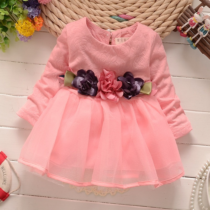 2017 Baby Girl Party Dress Children Frocks Designs Long-sleeved Girl Child Dress High Quality Baby Wear Clothes
