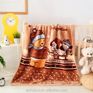 Promote price 100% Polyester Raschel Baby Blanket Super Soft fleeces