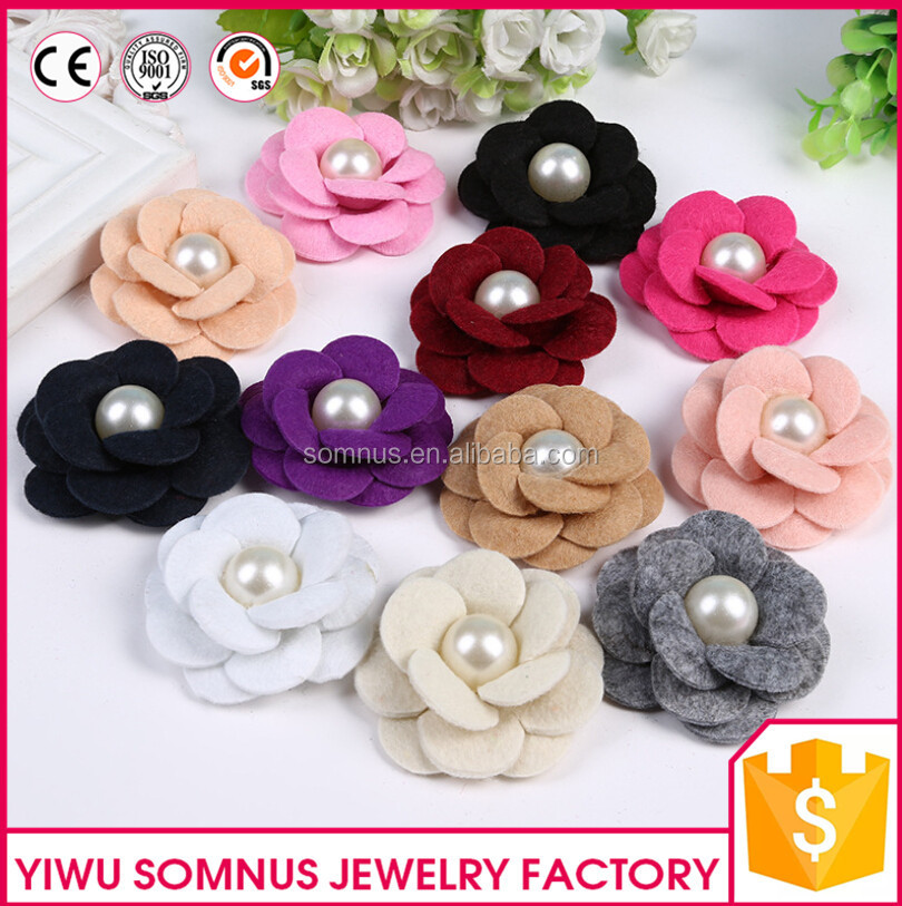 6CM Hnadmade non-woven fabrics <strong>flower</strong> with pearl center rose <strong>flower</strong> heads accessories