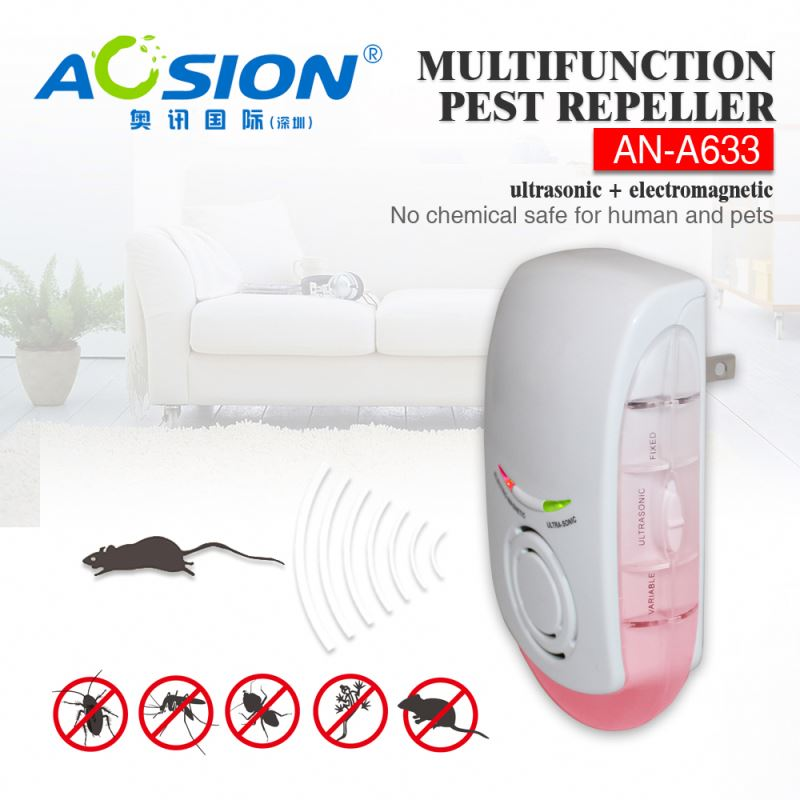 Aosion BSCI&BV Ultrasonic+electromagnetic+light ac power pest repeller