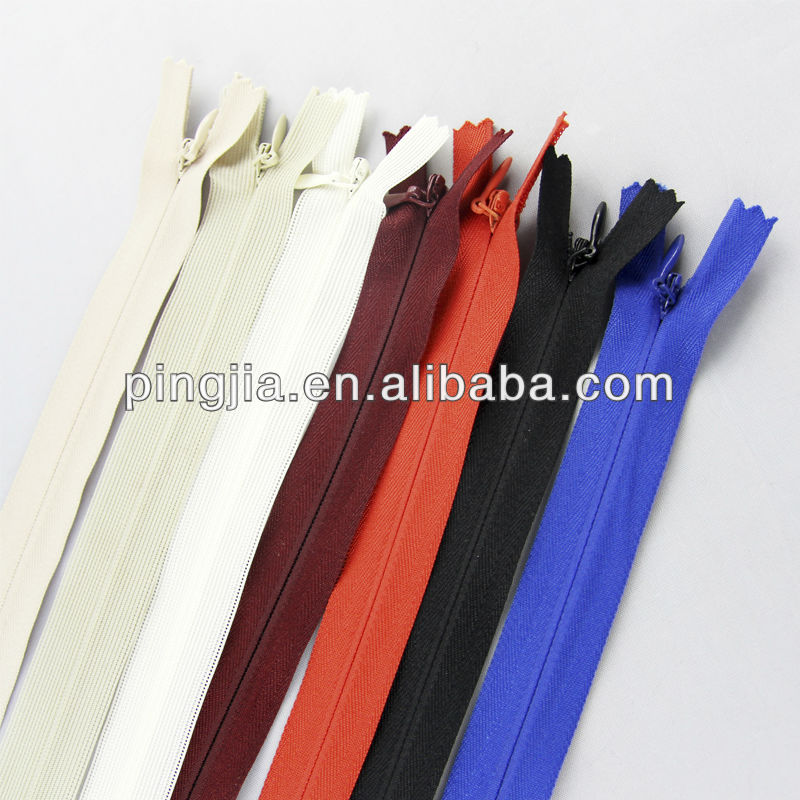 #3 invisible zipper with drop-tear puller ,Pantone color code /Ykk color code