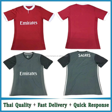 Thai quality Custom 2017 2018 home red Soccer Jersey away black futebol Jersey